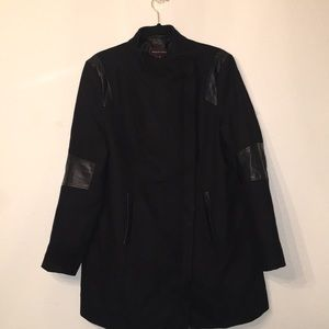 Black winter trench coat